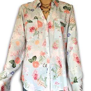 Ann Taylor Floral Print Pastel Button Down Blouse